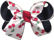 Medium Cherries on White Satin over Navy Double Layer Overlay Bow