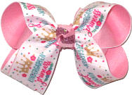 Medium Kindergarten Princess over Pink Double Layer Overlay Bow
