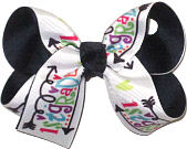 Medium First Grade Print over Navy Double Layer Overlay Bow