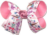 Medium Second Grade Unicorn Print over Pink Double Layer Overlay Bow