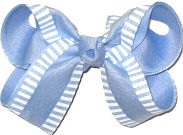 Medium Chiffon with White Stirpes over Millenium Blue Double Layer Overlay Bow
