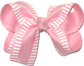 Medium Chiffon with White Stripes over Pink Double Layer Overlay Bow