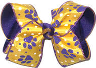 Large Purple Tiger Paw Prints on Yellow Gold over Purple Double Layer Overlay Bow
