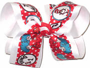 Large Dr Seuss Thing 1 Thing 2 over White Double Layer Overlay Bow