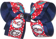 Large Dr Seuss Thing 1 Thing 2 over Light Navy Double Layer Overlay Bow