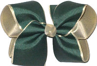 Large Forest Green over Matte Gold Double Layer Overlay Bow