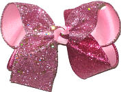 Large Hot Pink and Shocking Pink Glitter over Pink Double Layer Overlay Bow