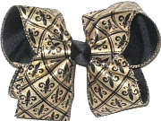 Large Gold with Black Fleur de Lis over Black Double Layer Overlay Bow