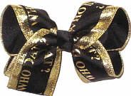 Large Black and Metallic Gold Who Dat over Black Double Layer Overlay Bow