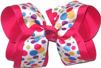 Large Multicolor Dots on White over Shocking Pink Double Layer Overlay Bow