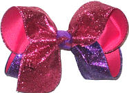 Large Shocking Pink and Purple Glitter over Shocking Pink Double Layer Overlay Bow