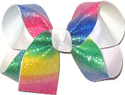 Medium Pastel Rainbow with Glitter over White Double Layer Overlay Bow