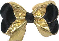 Medium Metallic Gold Snake Skin over Black Double Layer Overlay Bow