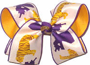 Large Purple and Gold Tiger and Purple Louisiana over Yellow Gold Double Layer Overlay Bow