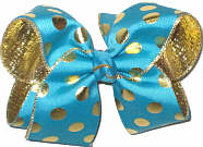 Large Navajo Turquoise with Metallic Gold Dots over Metallic Gold Double Layer Overlay Bow