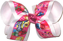 Large Shopkins over White Double Layer Overlay Bow