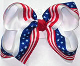 Stars and Stripes Flag Print over White Large Double Layer Bow