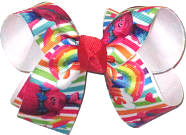 Medium Trolls over White Double Layer Overlay Bow