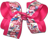 Large JoJo Siwa over Shocking Pink Double Layer Overlay Bow
