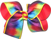 Large Triple Layer Rainbow Tie Dye over Maize over Poppy Double Layer Overlay Bow