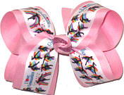 Large I Love Gymnatics over Light Pink Double Layer Overlay Bow