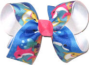 Medium Baby Shark over White Double Layer Overlay Bow