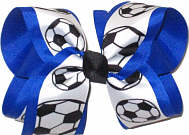 Large Soccer Balls on White Grosgrain over Electric Blue Double Layer Overlay Bow