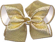 Large Metallic Gold Corduroy over White Double Layer Overlay Bow