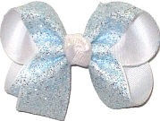 Medium Light Blue and Silver Glitter over White Double Layer Overlay Bow