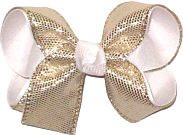 Medium Platinum Metallic Snakeskin Over White Double Layer Overlay Bow