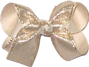 Medium Platinum Metallic Snakeskin Over Ivory Double Layer Overlay Bow