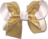 Medium Gold Metallic Snakeskin Over White Double Layer Overlay Bow