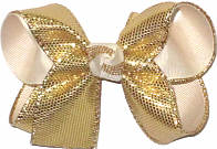 Medium Gold Metallic Snakeskin Over Ivory Double Layer Overlay Bow