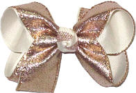 Medium Rose Gold Metallic Sharkskin Over White Double Layer Overlay Bow