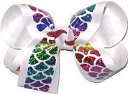 Medium Rainbow Hologram Mermaid Scales on White over White Double Layer Overlay Bow
