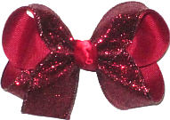 Medium Cranberry Heavy Glitter over Cranberry Double Layer Overlay Bow
