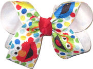 Medium Elmo and Sesame Street Chraracters over White Double Layer Overlay Bow