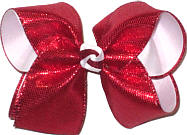 Large Red Metallic Snakeskin Over White Double Layer Overlay Bow