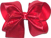 Large Red Metallic Snakeskin Over Red Double Layer Overlay Bow