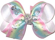 Medium Silver Hologram Bows on Pink Blue Green and Yellow Pastel over White Double Layer Overlay Bow