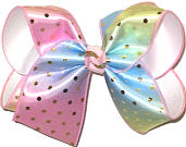 Large Metallic Gold Dots on Pink Blue and Green Pastel over White Double Layer Overlay Bow