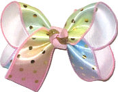 Medium Metallic Gold Dots on Pink Blue and Green Pastel over White Double Layer Overlay Bow