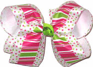 Large Shocking Pink and Green Dots and Stripes over White Double Layer Overlay Bow