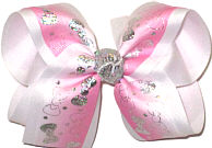 Large Silver Hologram Bows on White to Pink Gradient Pastel over White Double Layer Overlay Bow