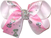 Medium Silver Hologram Bows on White to Pink Gradient Pastel over White Double Layer Overlay Bow