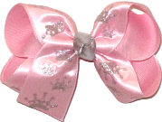 Medium Silver Glitter Princess Crowns on Pink Satin over Pink Double Layer Overlay Bow