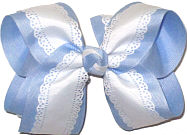 Large White Lace Edge Grosgrain over Millenium Blue Double Layer Overlay Bow