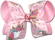 Large Unicorn on Chiffon over Pink Double Layer Overlay Bow