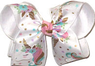 Large Unicorn on Chiffon over White Double Layer Overlay Bow