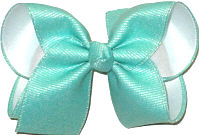 Large Aqua Shimmer over White Double Layer Overlay Bow